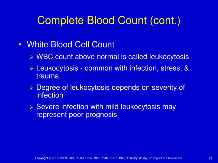 Complete Blood Count (cont.)