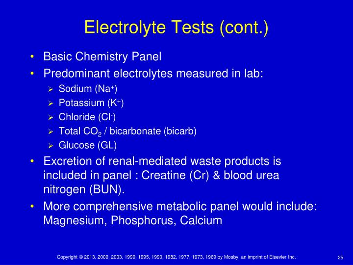 Electrolyte Tests (cont.)