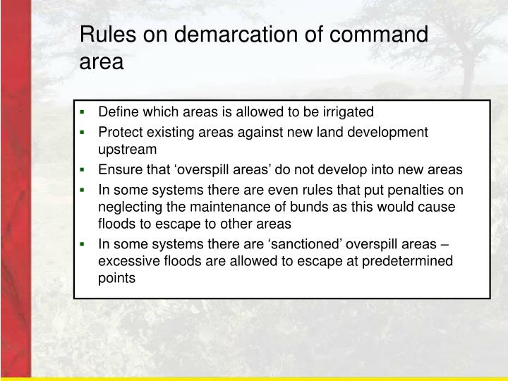 Rules on demarcation of command area