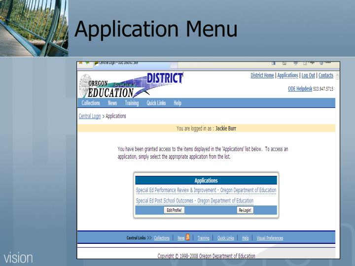 Application Menu