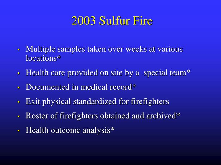 2003 Sulfur Fire