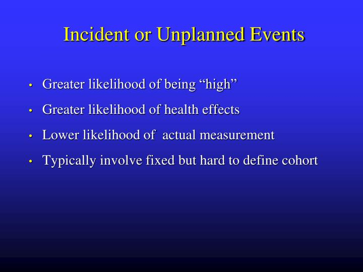Incident or Unplanned Events
