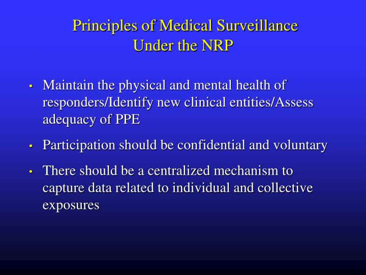 Principles of Medical Surveillance