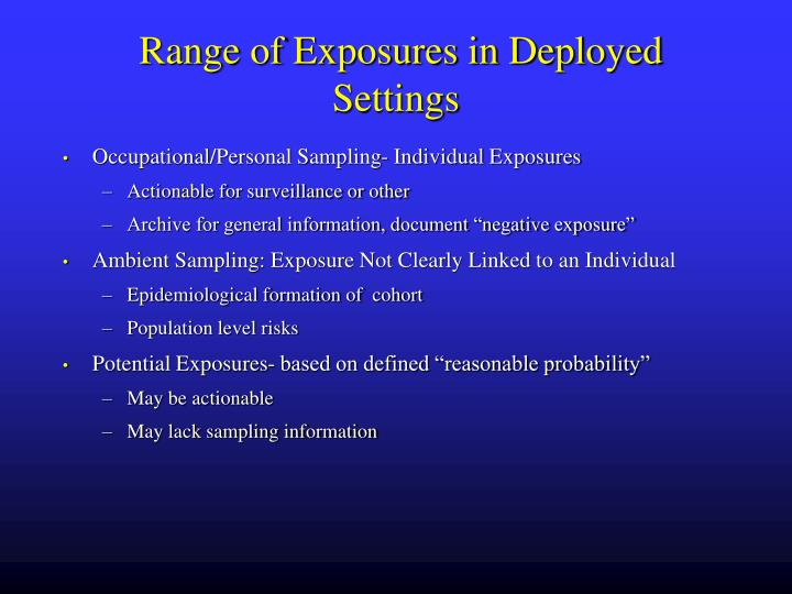 Range of Exposures in Deployed Settings