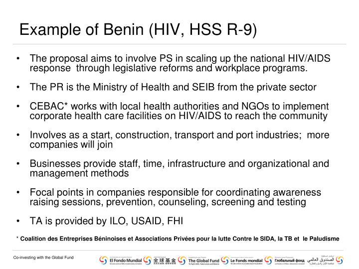 Example of Benin (HIV, HSS R-9)