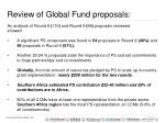 review of global fund proposals