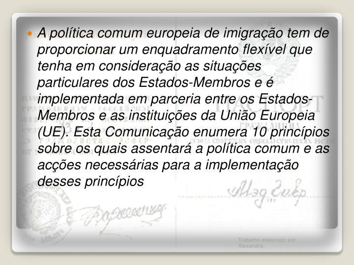 A política comum europeia de imigração tem de proporcionar um enquadramento flexível que tenha em consideração as situações particulares dos Estados-Membros e é implementada em parceria entre os Estados-Membros e as instituições da União Europeia (UE). Esta Comunicação enumera 10 princípios sobre os quais assentará a política comum e as acções necessárias para a implementação desses
