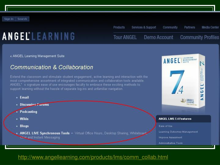 http://www.angellearning.com/products/lms/comm_collab.html