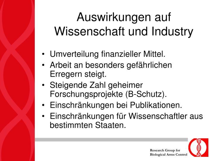 Auswirkungen auf Wissenschaft und Industry