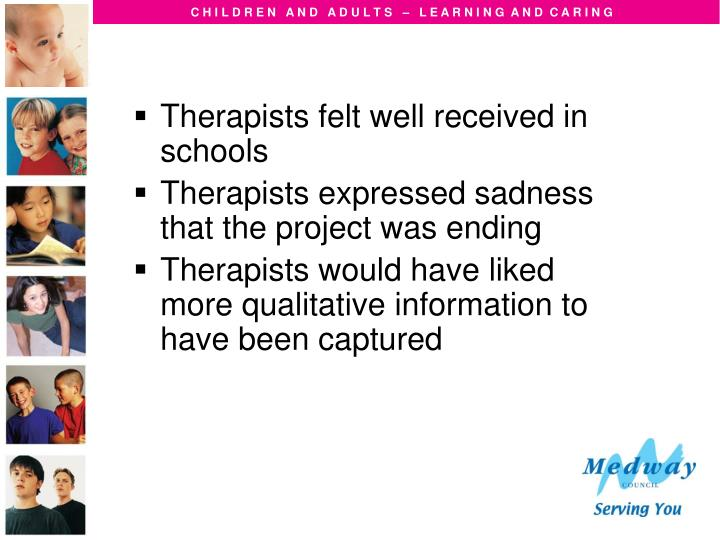 Therapists felt well received in schools
