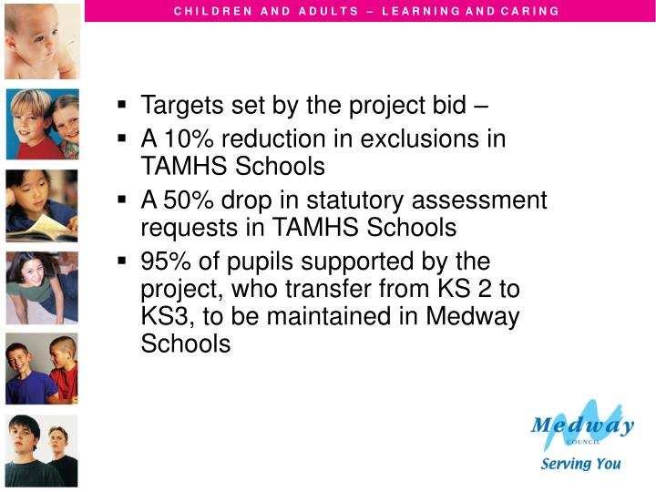 Targets set by the project bid –