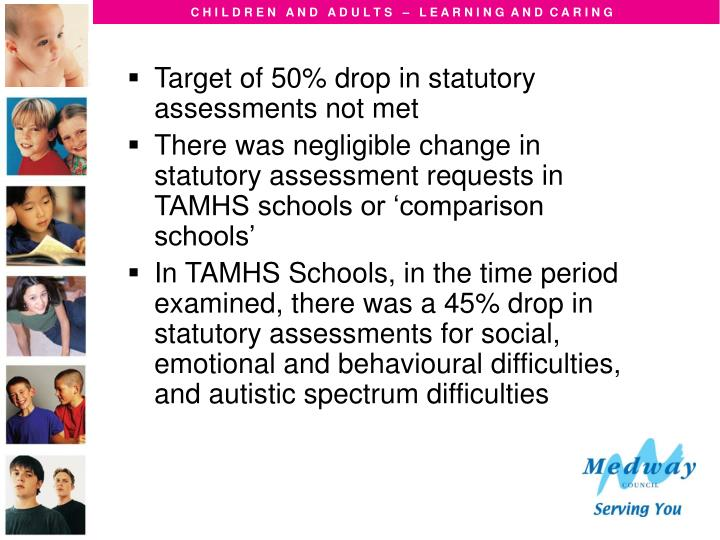 Target of 50% drop in statutory assessments not met