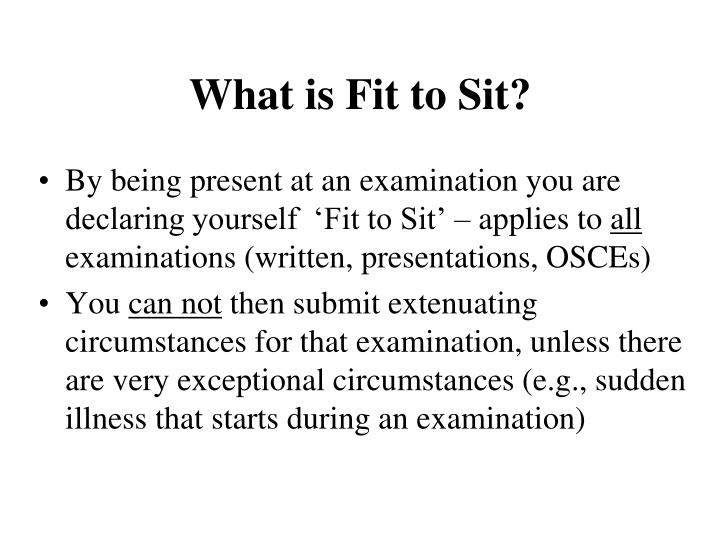 What is fit to sit