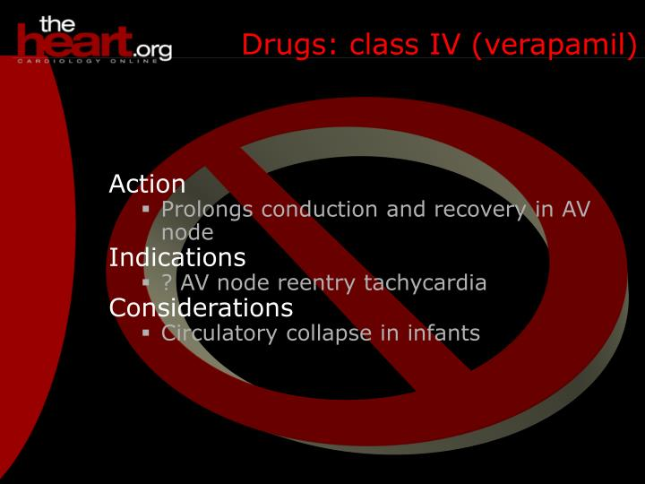 Drugs: class IV (verapamil)