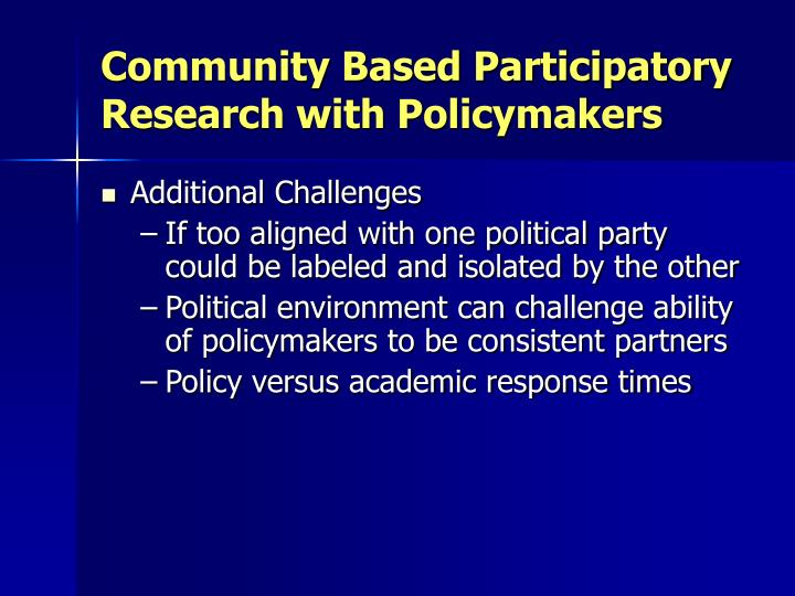 Community Based Participatory Research with Policymakers