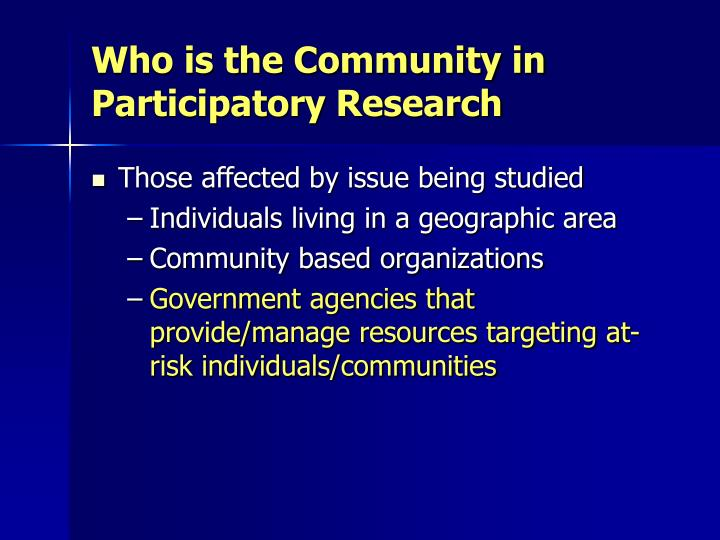 Who is the Community in Participatory Research