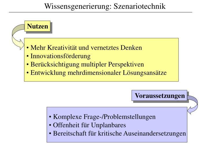 Wissensgenerierung: Szenariotechnik