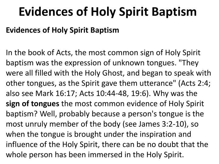 Evidences of Holy Spirit Baptism