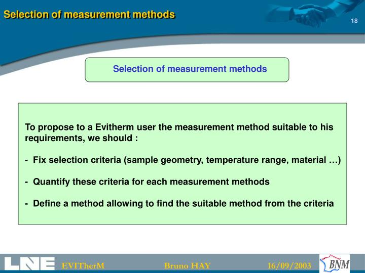 Selection of measurement methods
