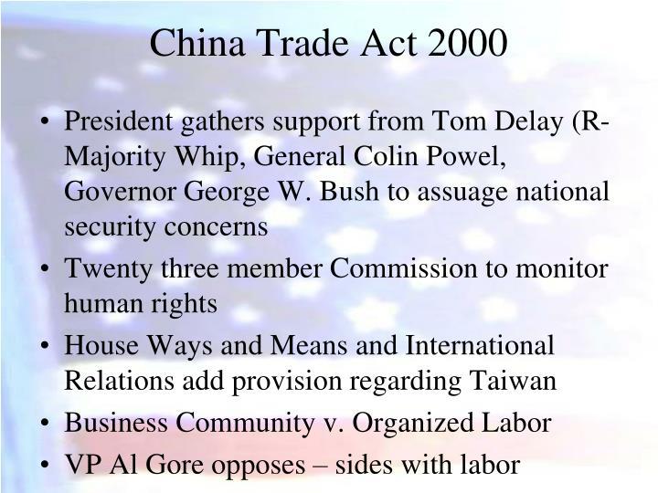 China Trade Act 2000