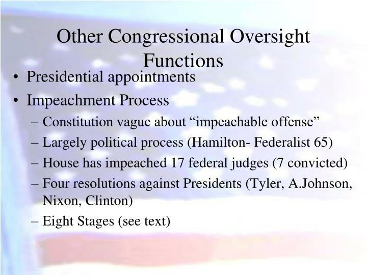 Other Congressional Oversight Functions