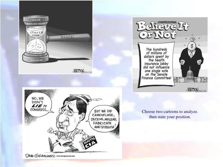 Choose two cartoons to analyze.