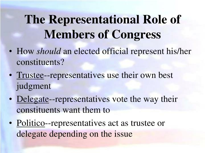 The Representational Role of Members of Congress
