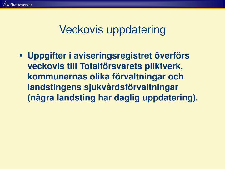 Veckovis uppdatering