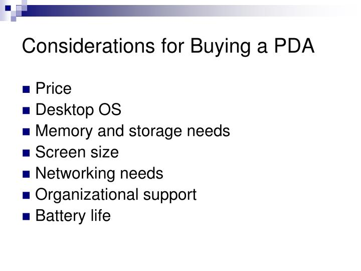 Considerations for Buying a PDA