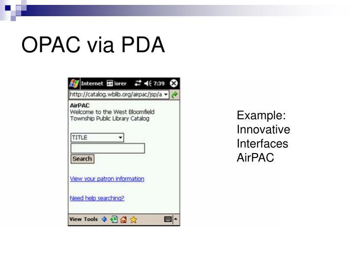 OPAC via PDA