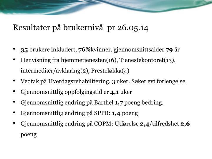 Resultater på brukernivå  pr 26.05.14