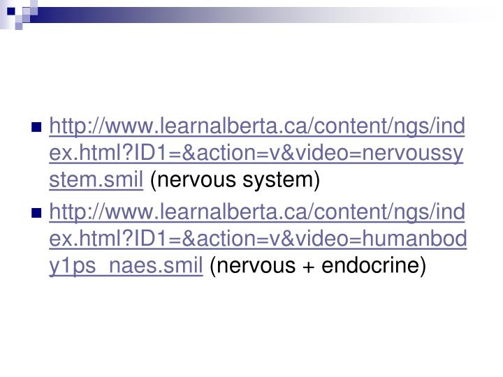 http://www.learnalberta.ca/content/ngs/index.html?ID1=&action=v&video=nervoussystem.smil