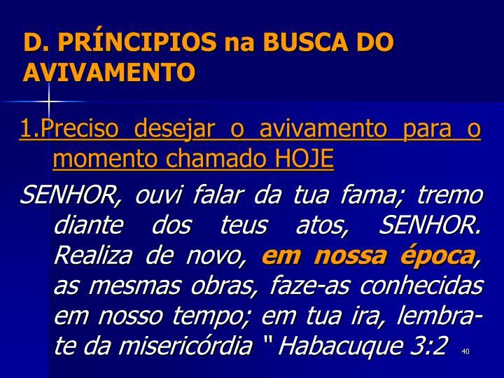 D. PRÍNCIPIOS na BUSCA DO AVIVAMENTO