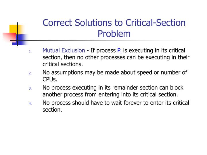 Correct Solutions to Critical-Section Problem