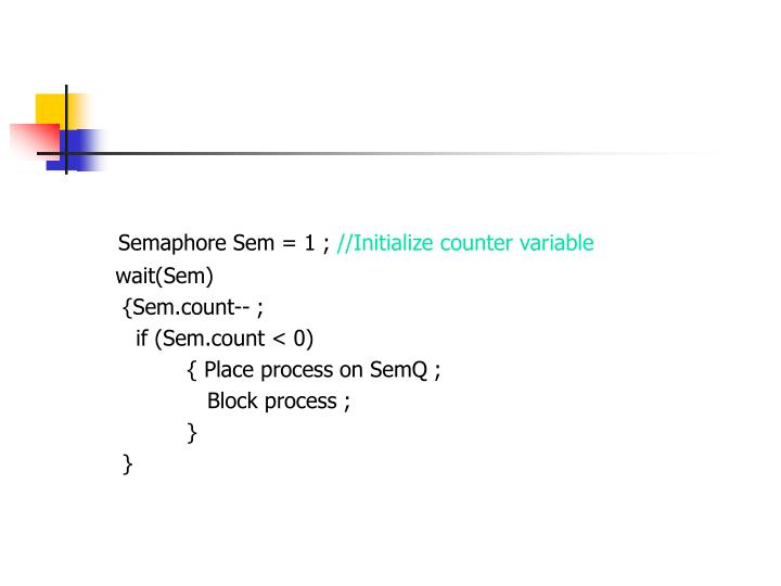 Semaphore Sem = 1 ;