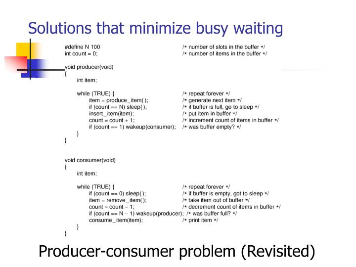 Solutions that minimize busy waiting