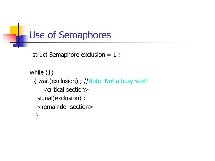 Use of Semaphores