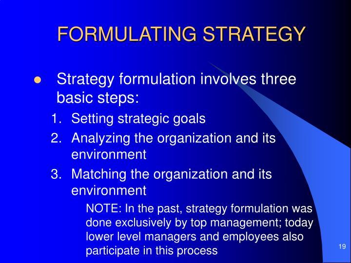 FORMULATING STRATEGY