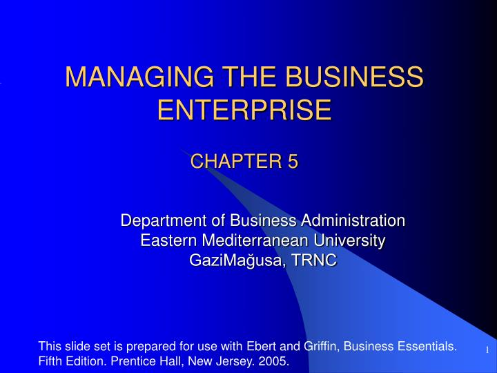 Managing the business enterprise