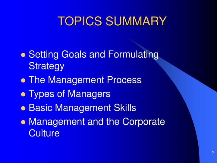 TOPICS SUMMARY