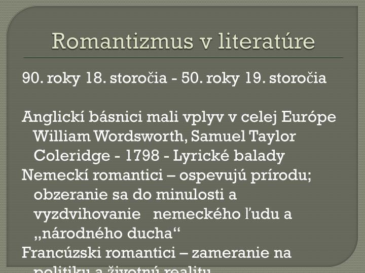 Romantizmus v literatúre