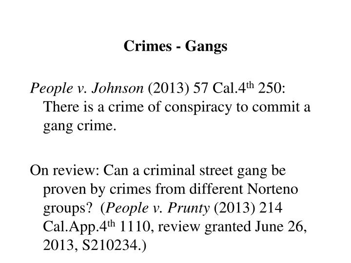 Crimes - Gangs
