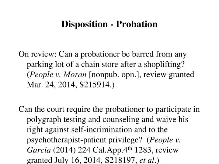 Disposition - Probation