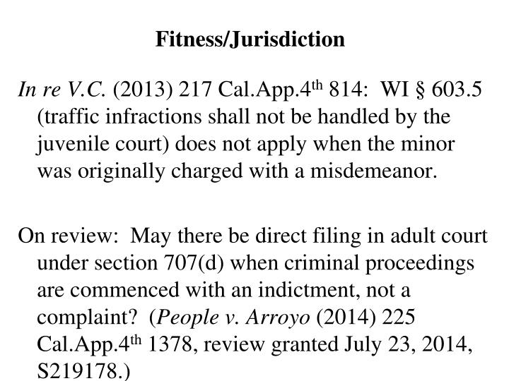 Fitness/Jurisdiction
