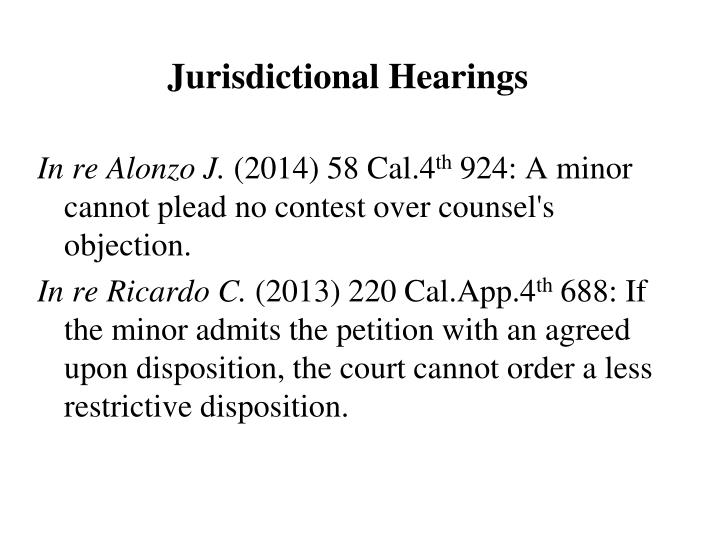 Jurisdictional Hearings