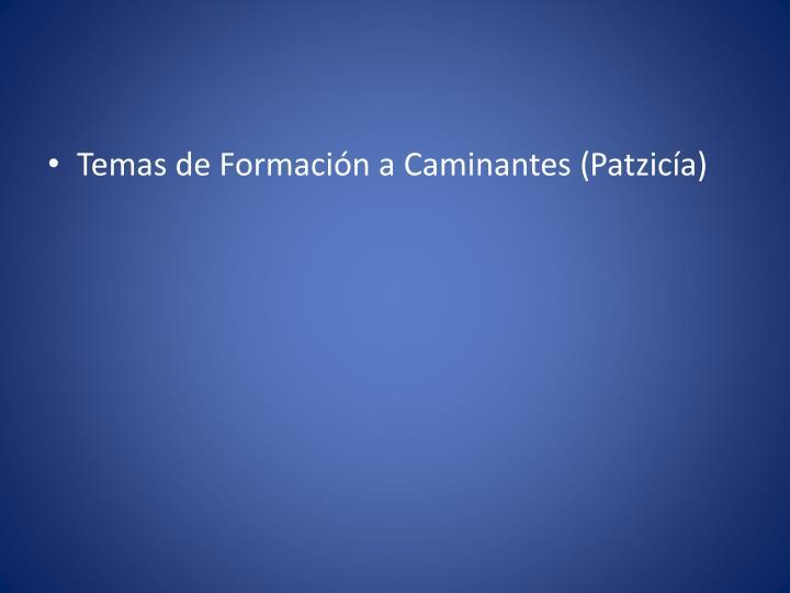 Temas de Formación a Caminantes (