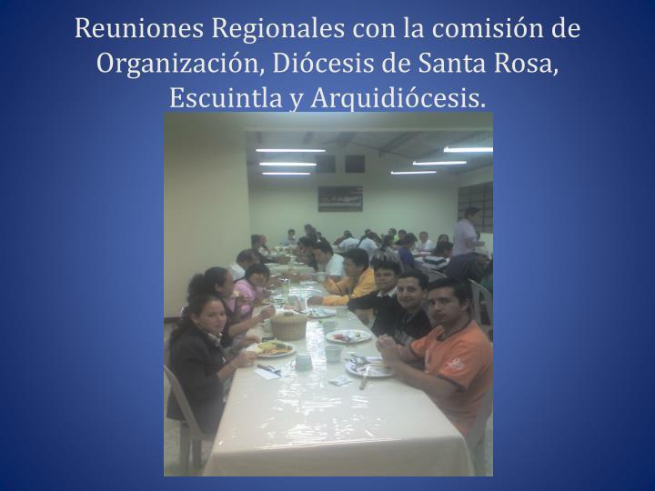 Reuniones Regionales con la comisión de Organización, Diócesis de Santa Rosa, Escuintla y Arquidiócesis.