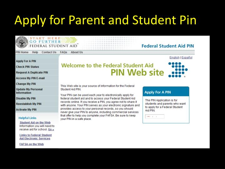 Apply for Parent and Student Pin