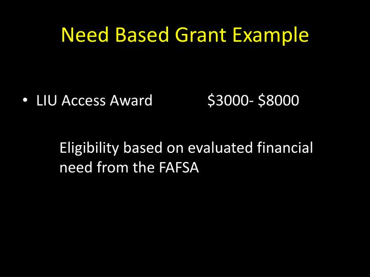 Need Based Grant Example