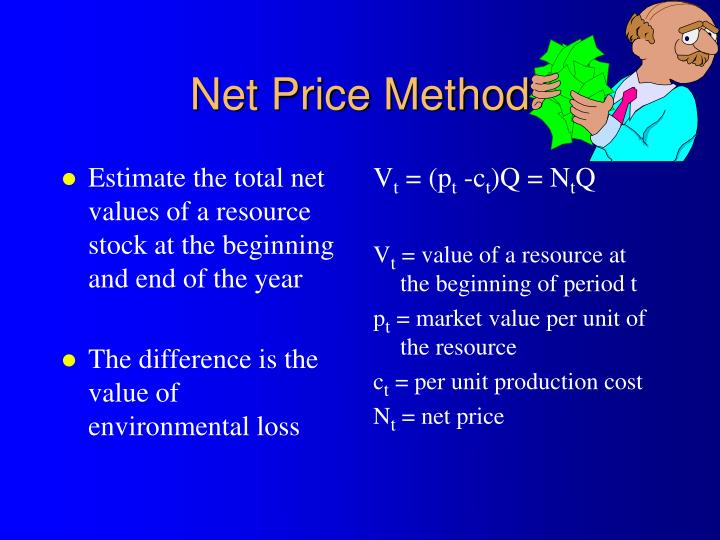Estimate the total net values of a resource stock at the beginning and end of the year